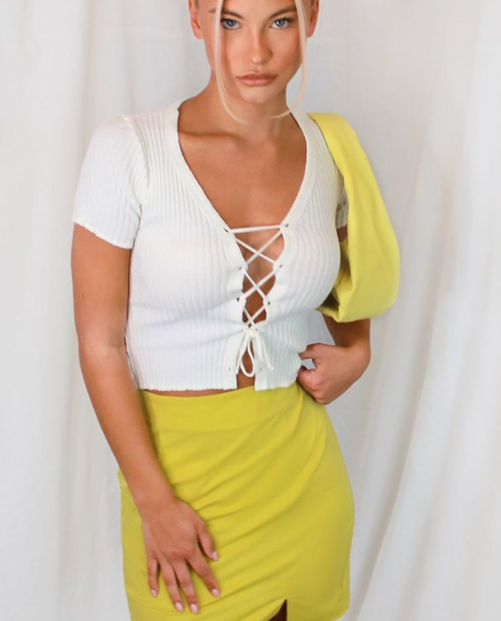 Cream Lace Up Front Knitted Tee
