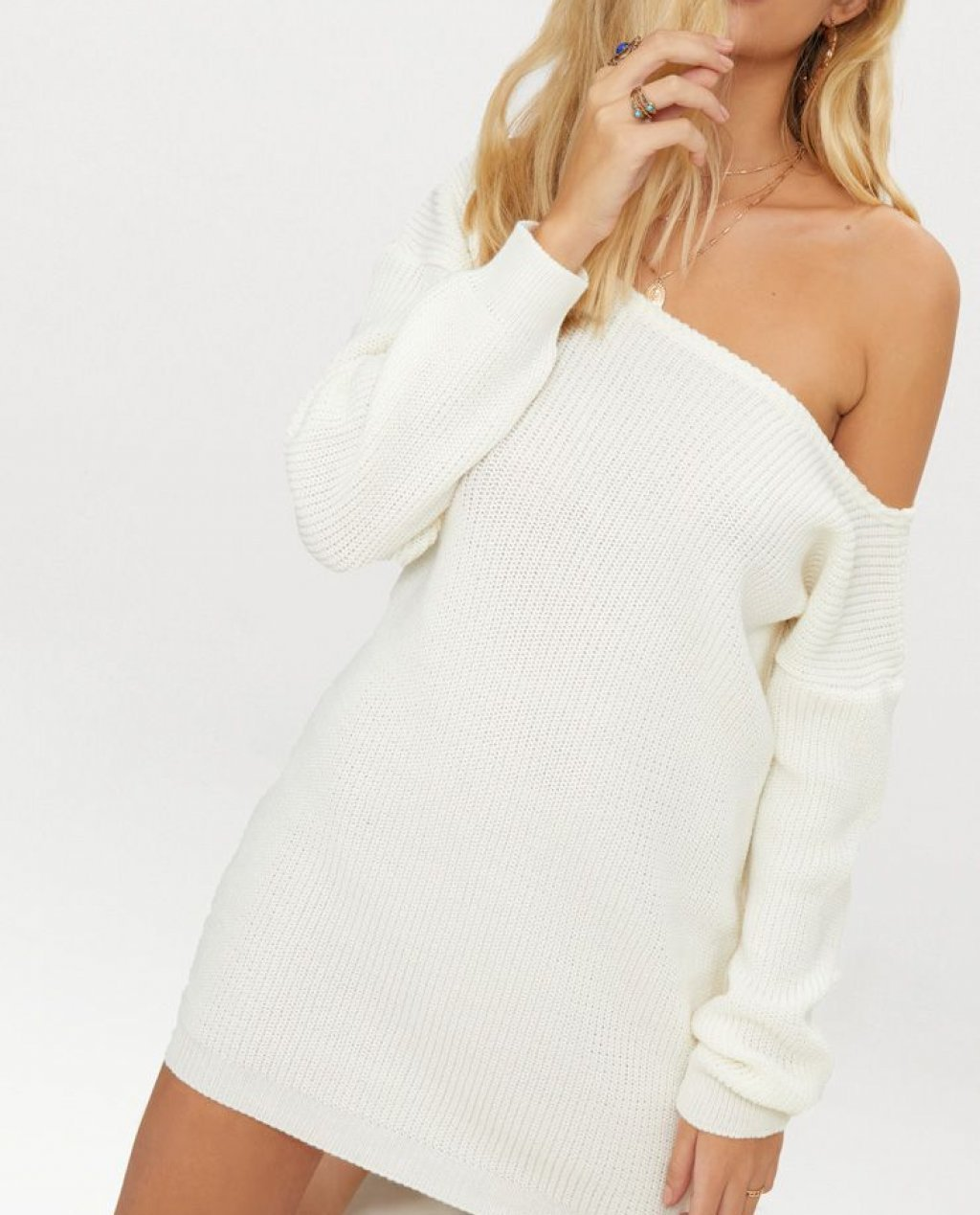 Cream Off The Shoulder Sweater Dress