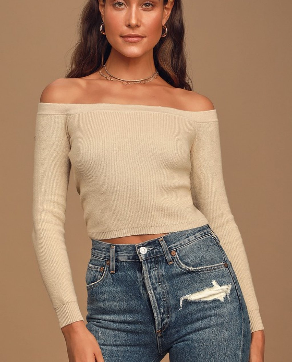 Crop On By Beige Knit Off-the-Shoulder Cropped Sweater Top