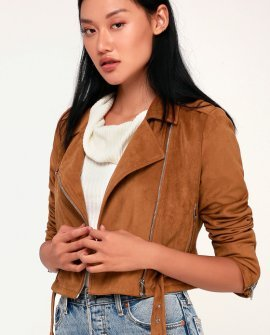 Cruising Downtown Tan Suede Moto Jacket
