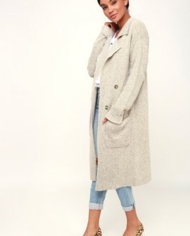 Cuddle Club Beige Long Sleeve Sweater Coat