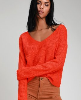 Cuddles and Kisses Coral Orange V-Neck Knit Sweater