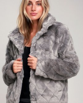 D'Andra Grey Quilted Faux Fur Jacket