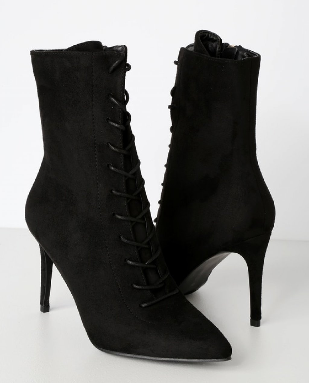 Daelyn Black Suede Lace-Up Mid-Calf Booties