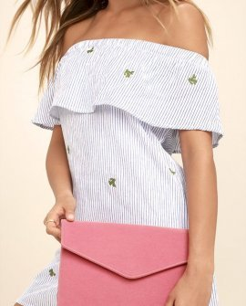 Daily To-Do Pink Velvet Clutch