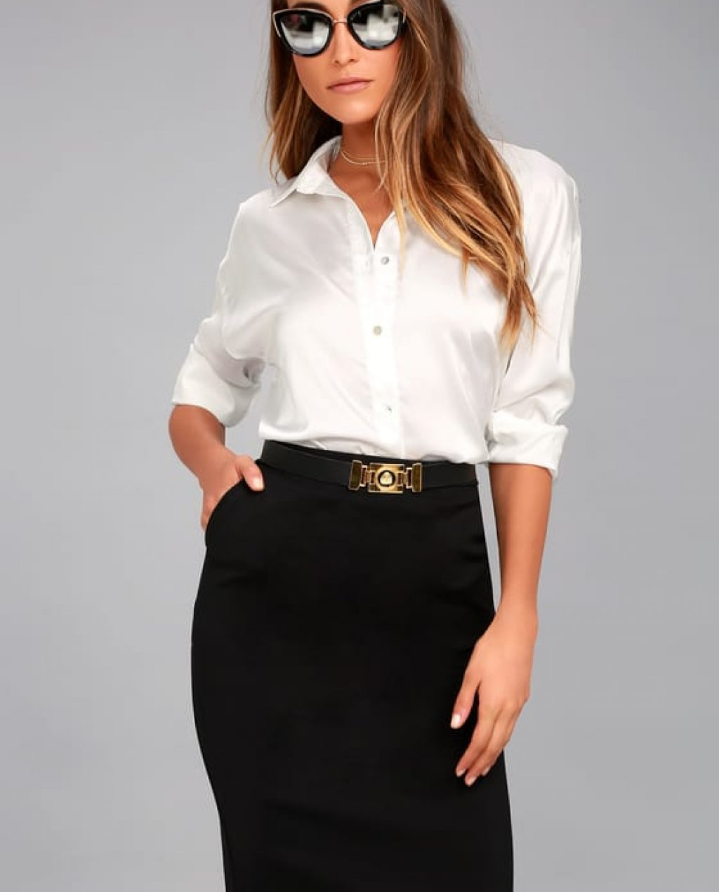Daily Wonder Black Bodycon Midi Skirt