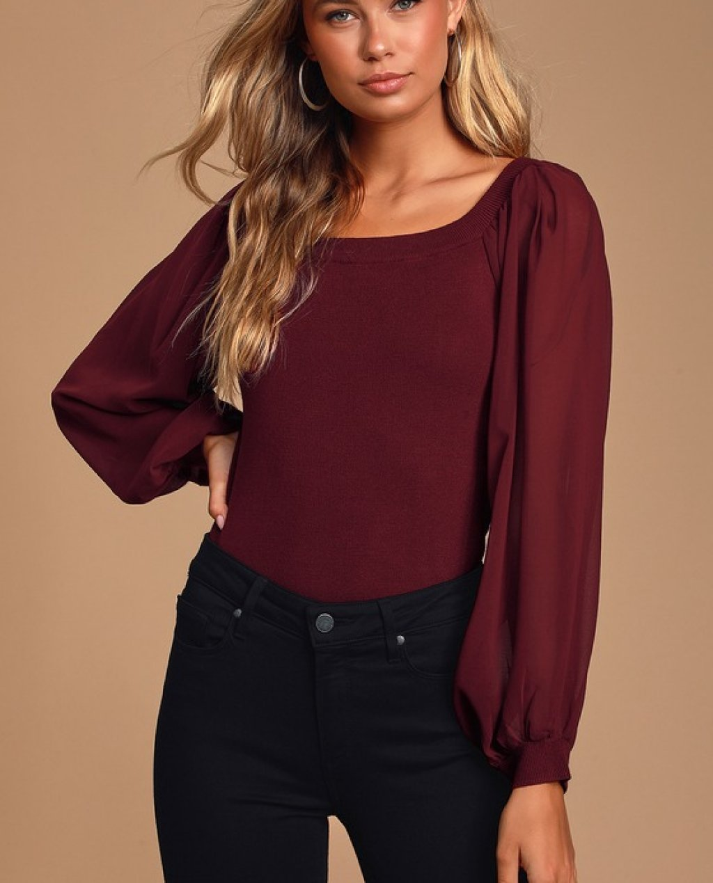 Danae Burgundy Chiffon Balloon Sleeve Top