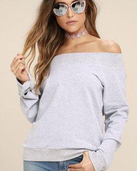 Dancing for my Life Heather Grey Off-the-Shoulder Sweatshirt