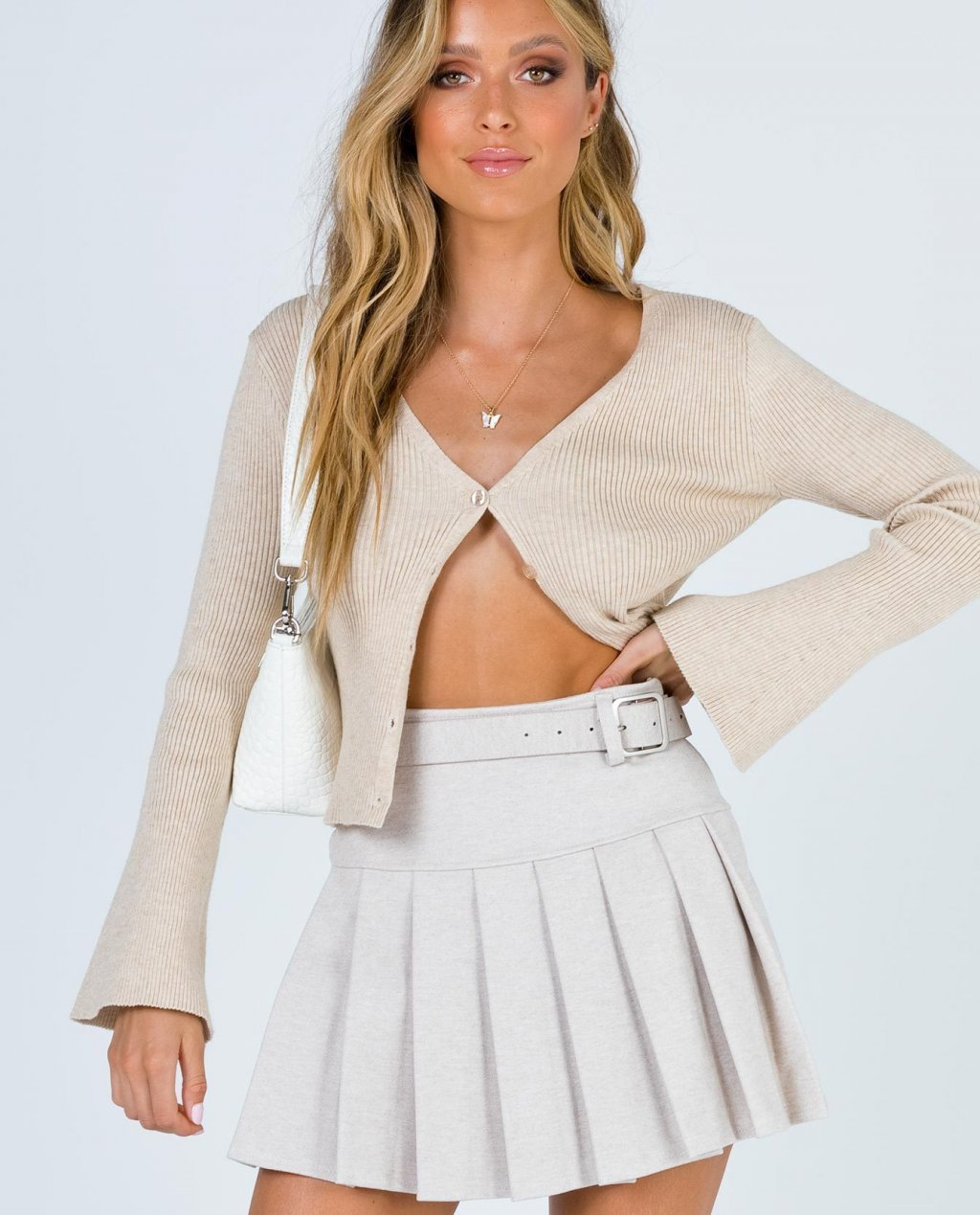 Daphne Beige Mini Skirt