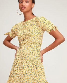 Daphne Yellow Floral Print Tie-Sleeve Skater Dress