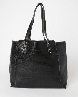 Dare To Impress Black Crocodile Embossed Tote Bag