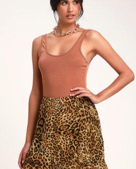 Dare to be Wild Tan Leopard Print Ruffled Mini Skirt