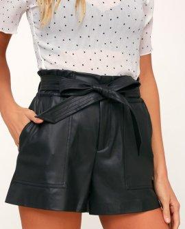Dark Web Black Vegan Leather High-Waisted Shorts