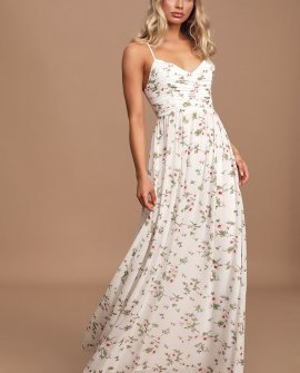 Darling Amour White Floral Print Lace-Up Maxi Dress