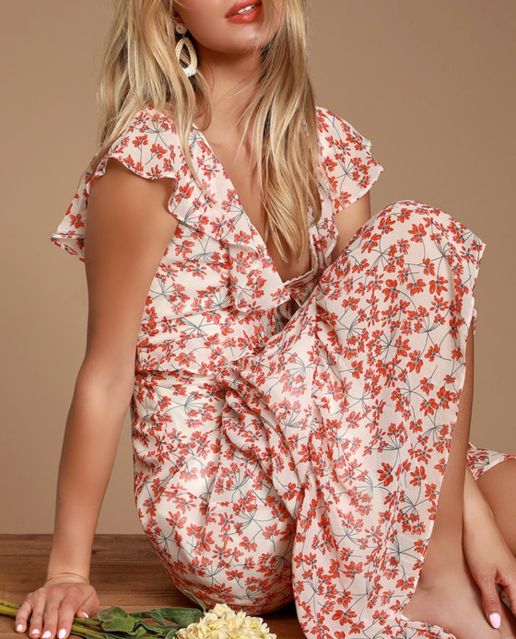 Darling Daydream Red and White Floral Print Ruffled Maxi Dress