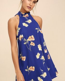 Darling Dearest Royal Blue Floral Print Swing Dress