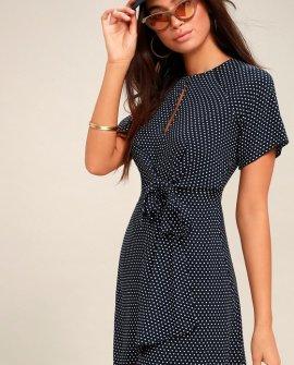 Darling Details Navy Blue Polka Dot Knotted Wrap Dress