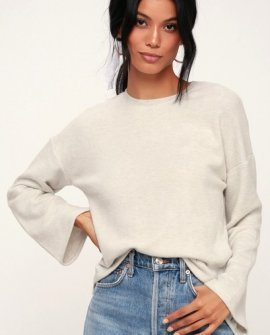 Darling Heather Grey Bell Sleeve Sweater Top