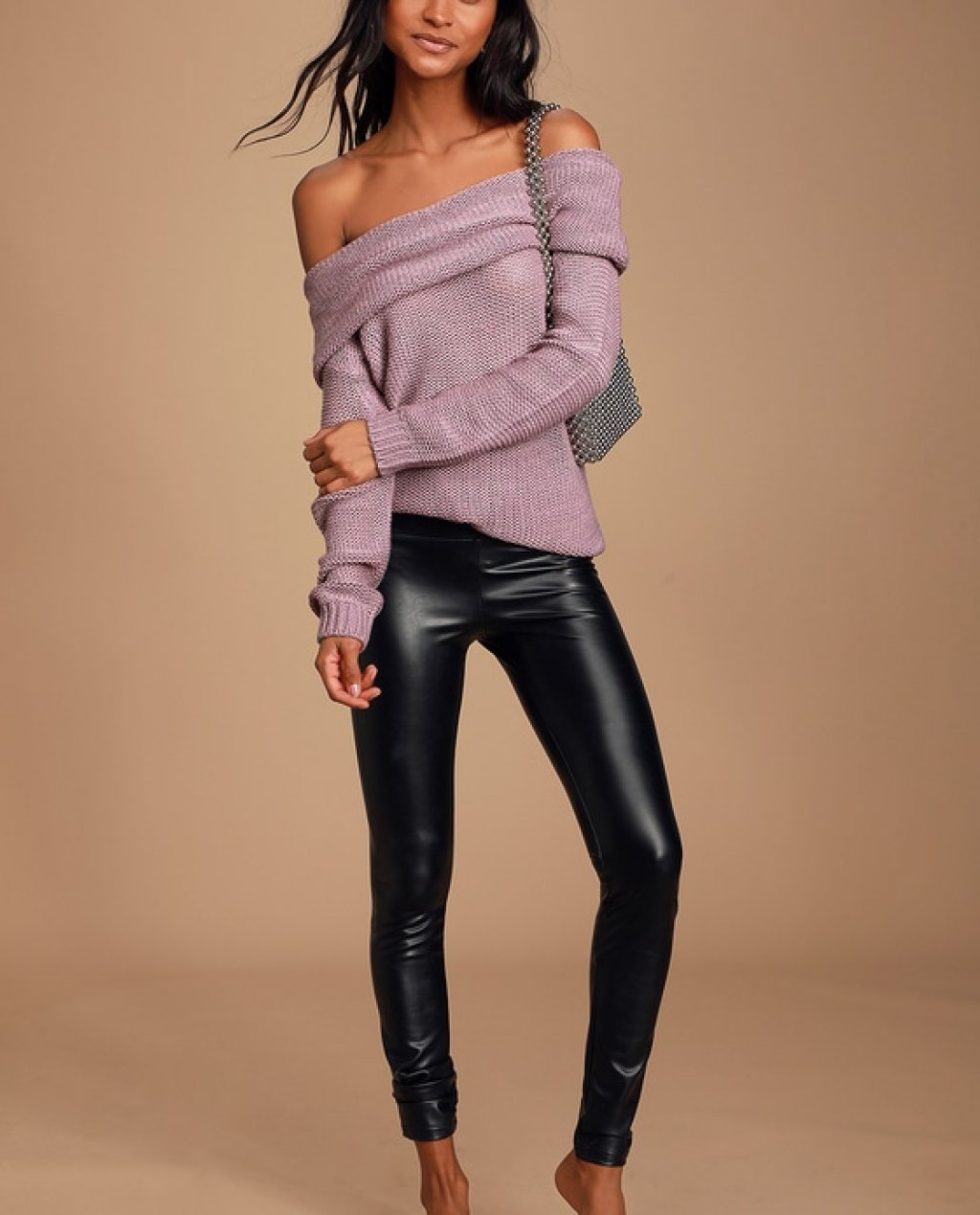 Daveny Dusty Lavender Off-the-Shoulder Knit Sweater