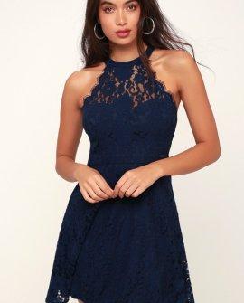 Davina Navy Blue Lace Skater Dress