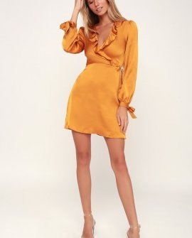 Dawn Golden Yellow Satin Long Sleeve Surplice Dress