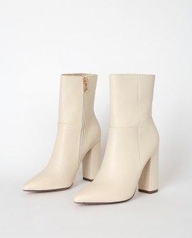 Dawson Bone Pebble Pointed-Toe Mid Calf High Heel Boots