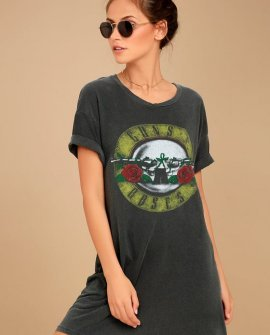 Daydreamer Guns N' Roses Washed Charcoal Grey T-Shirt Dress