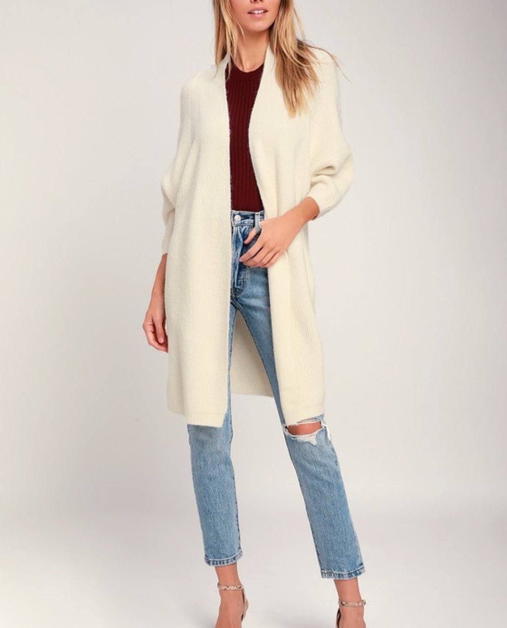 Deangelo Cream Oversized Cardigan Sweater