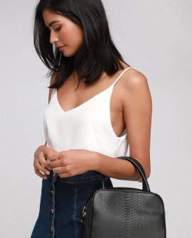 Dedicated to Style Black Snake Embossed Square Handbag