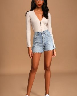 Dee Light Blue Distressed Denim High-Rise Shorts
