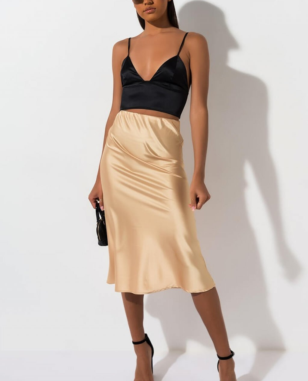 Deep Dream Satin Midi Skirt