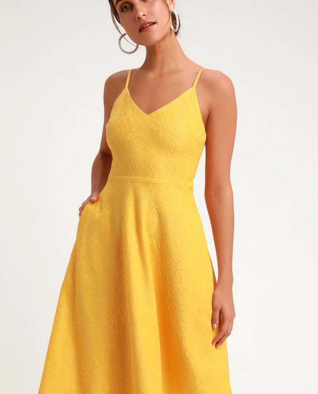 Delightful Day Yellow Lace Midi Skater Dress