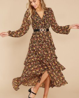 Delightful Moments Black Floral Print Maxi Dress