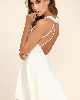 Delightful Surprise Ivory Skater Dress