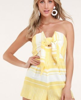 Delphi Yellow and White Striped Tie-Front Strapless Romper