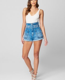 Denim Paper Bag Shorts With Self Belt And Front Patch Pockets