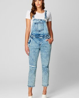 Denim Straight Leg Overall With Knee Rips