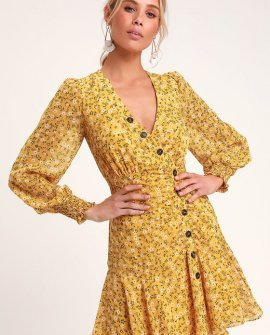 Dianella Yellow Floral Print Long Sleeve Dress