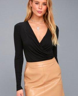Dip In Black Long Sleeve Bodysuit