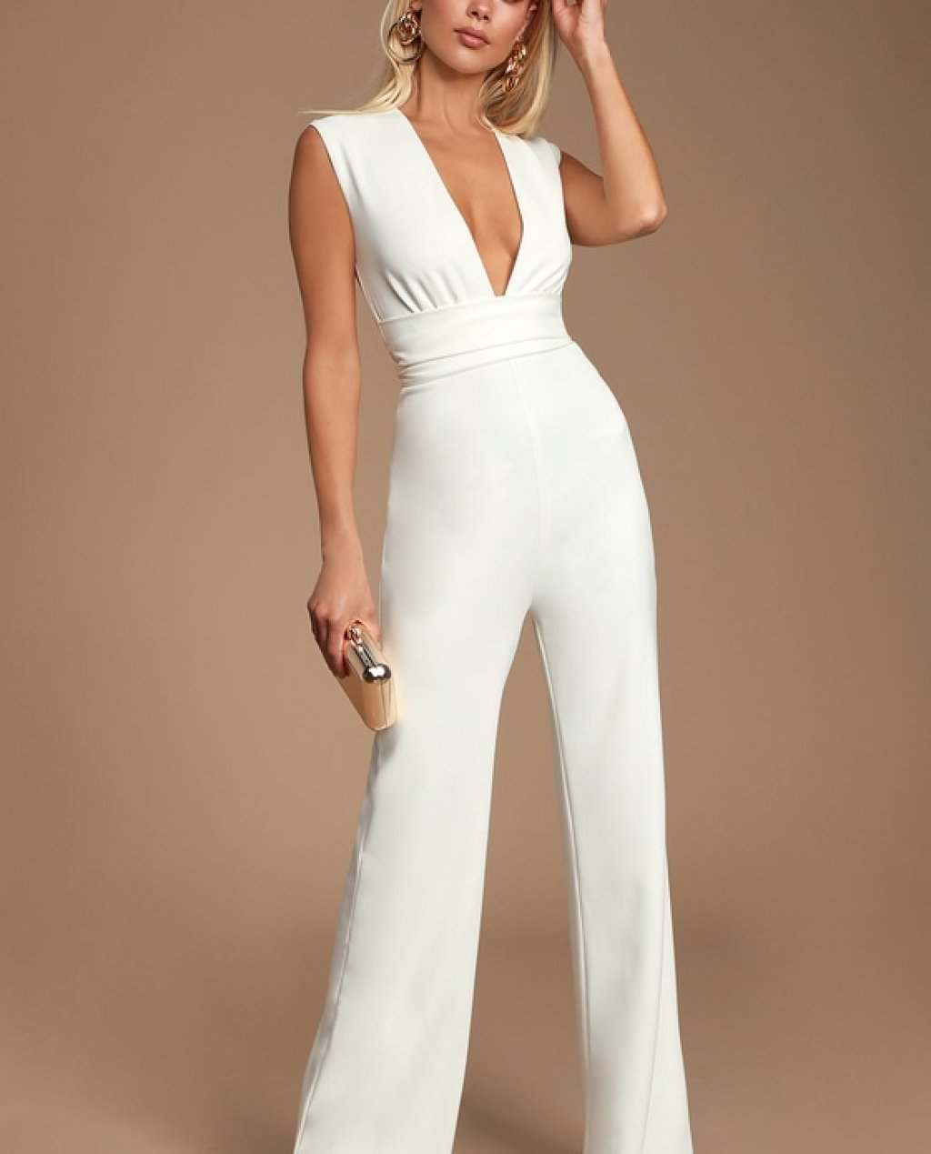 Diva Moment White Sleeveless Jumpsuit