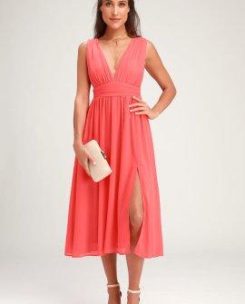 Divine Dahlia Coral Pink Midi Dress