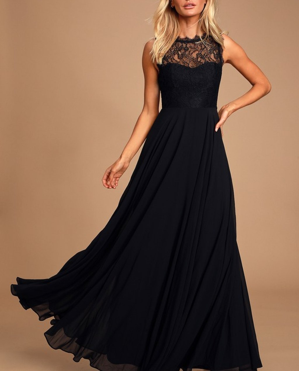 Divine Evening Black Lace Chiffon Maxi Dress