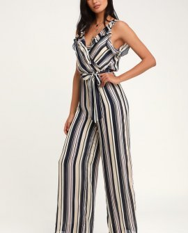 Divine Time Pink and Blue Multi Striped Wide-Leg Jumpsuit