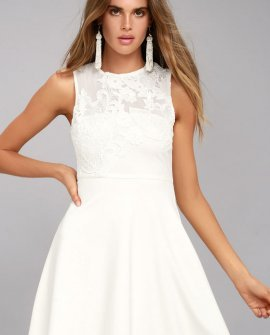 Doily Darling White Lace Skater Dress
