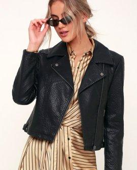 Doin' It Right Black Vegan Leather Moto Jacket