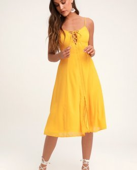 Don't Steal My Sunshine Golden Yellow Lace-Up Midi Dress