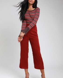 Donna Burgundy Multi Stripe Long Sleeve Top
