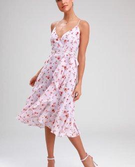 Doreen Lavender Floral Print Ruffled Wrap Midi Dress