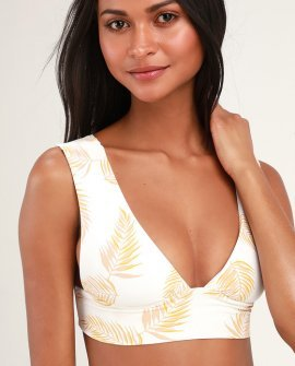 Dos Palmas Cream Palm Print Plunge Bikini Top