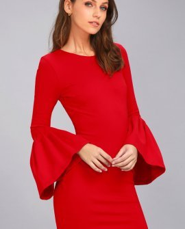 Double Flair Red Long Sleeve Bodycon Dress